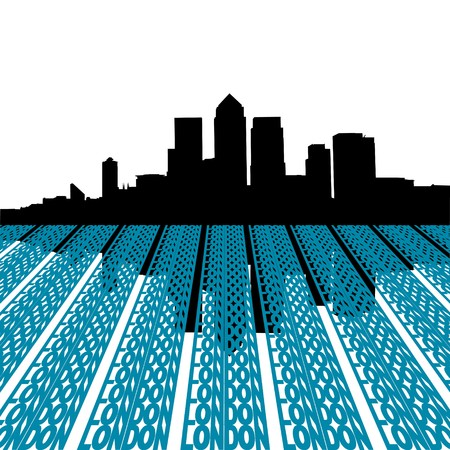 canary wharf: Docklands skyline with London text illustration Stock Photo