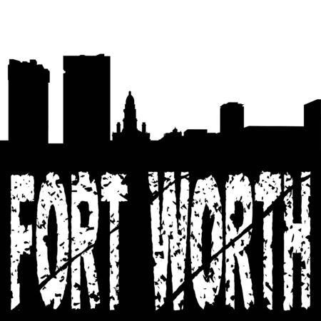 Fort Worth grunge text with skyline illustration illustration