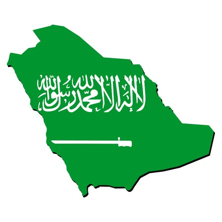 realm: map of Saudi Arabia with their flag illustration