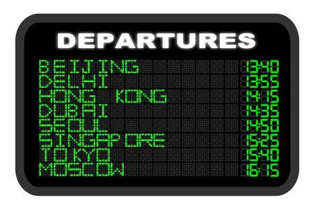 departure board: Asian Airport Departure board illustration
