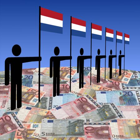 line of men holding Dutch flags on euros illustration Stock Illustration - 4297499