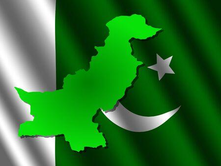 rippled: Pakistan map on rippled flag illustration Stock Photo