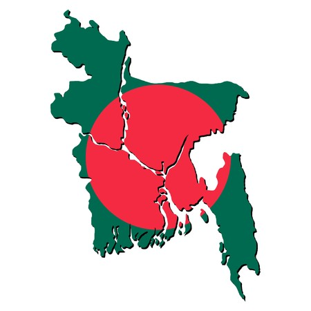 bangladesh: map of Bangladesh with their flag illustration