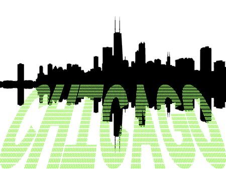 sears: Chicago Skyline with dollar symbol text illustration Stock Photo