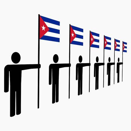 the cuban: line of men holding Cuban flags illustration