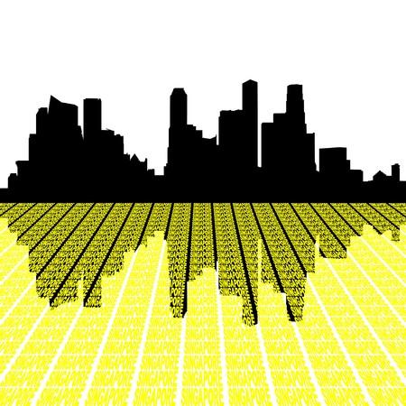 singapore skyline: Singapore skyline with text illustration Stock Photo