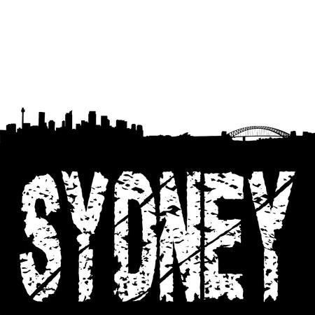 Sydney skyline with grunge text illustration illustration