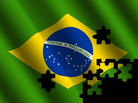 rippled: Brazil rippled flag with jigsaw effect illustration