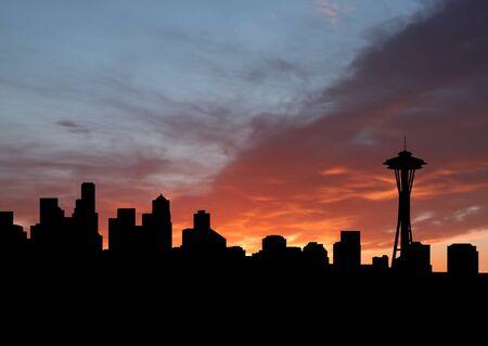 seattle skyline: Seattle skyline with Space Needle at sunset illustration Stock Photo