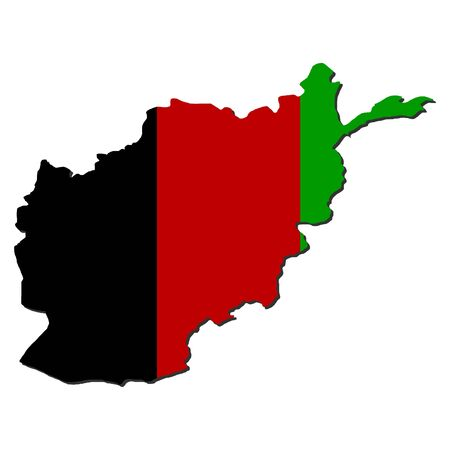 map of Afghanistan with their flag illustration illustration
