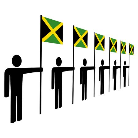 jamaican man: line of men holding Jamaican flags illustration