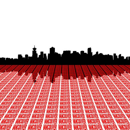 vancouver city: Vancouver skyline with text illustration