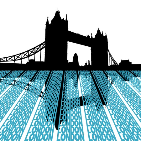 gherkin building: Tower Bridge reflected with London text illustration Stock Photo