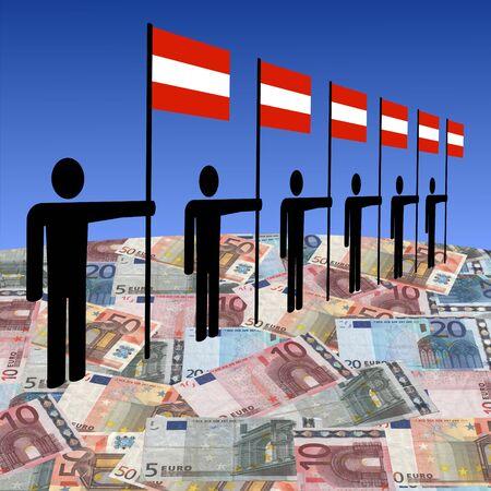 austrian: line of men holding Austrian flags on euros illustration Stock Photo