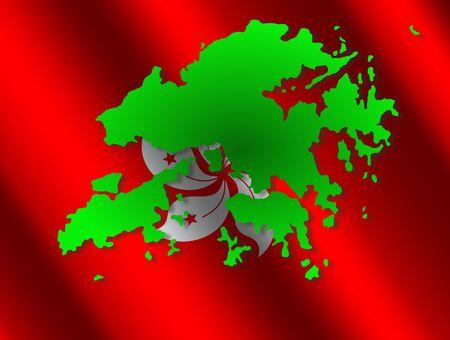 Hong Kong map on rippled flag illustration illustration