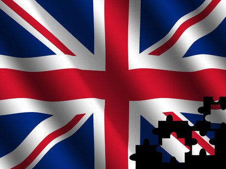 rippled: British rippled flag with jigsaw effect illustration