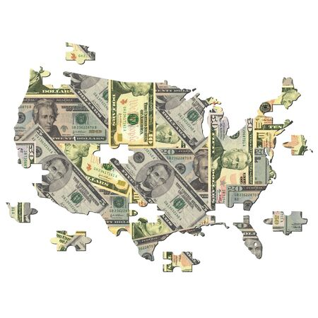 American dollar Map jigsaw with missing pieces illustration Stock Photo