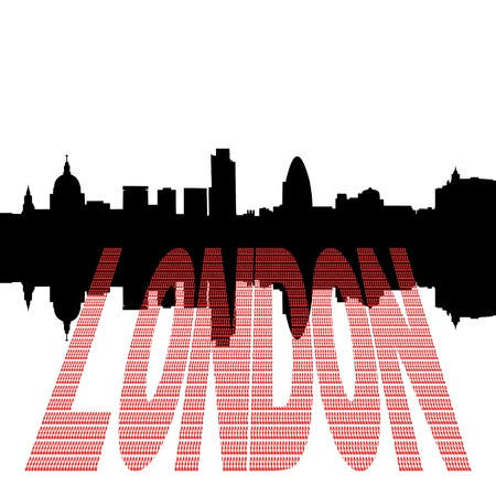 st pauls: London Skyline including St Pauls Cathedral with pound symbol text illustration