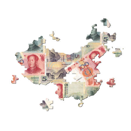 Chinese Yuan Map jigsaw with missing pieces illustration