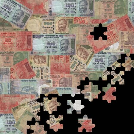 rupees: Rupees montage jigsaw background illustration Stock Photo