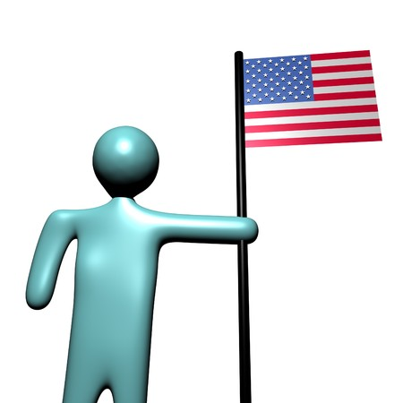 abstract person holding pole with American Flag photo