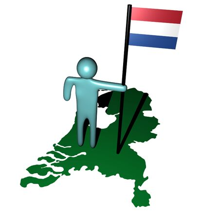 dutch flag: abstract person with dutch flag on map illustration
