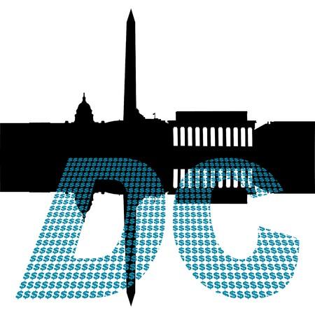 Washington DC Skyline with dollar symbol text illustration illustration