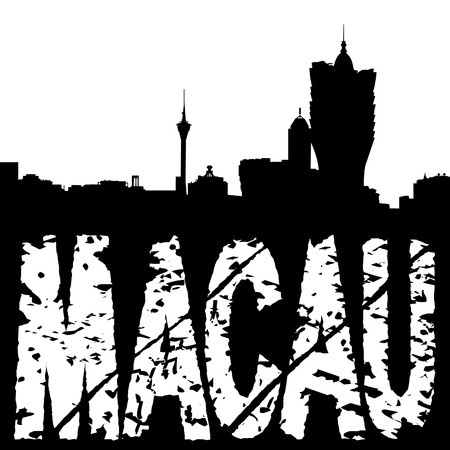 macau: Macau skyline with grunge text illustration Stock Photo
