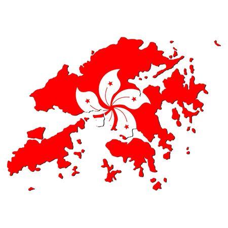 map of Hong Kong and their flag illustration illustration