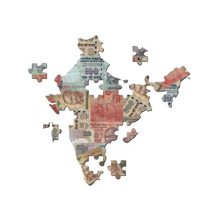 indian money: Indian Rupee Map jigsaw with missing pieces illustration