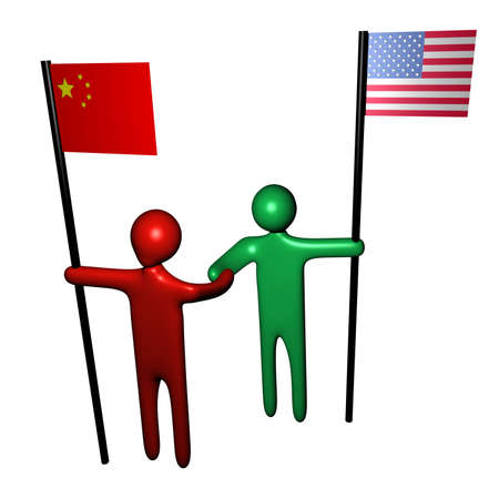 meeting between American and Chinese business people illustration illustration