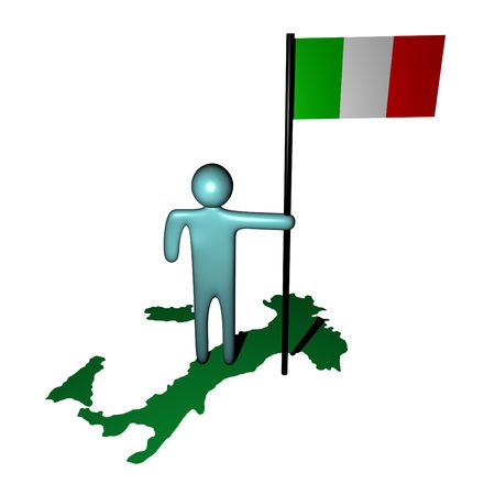 abstract person with Italian flag on map illustration Stock Illustration - 4402170