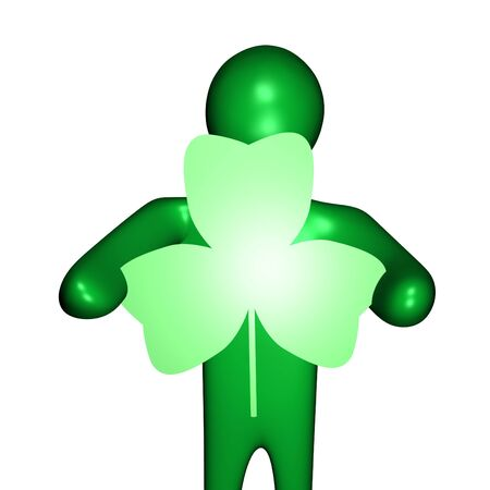 green person holding shamrock shaped sign Stock Photo - 4402171
