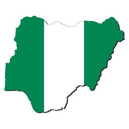 nigeria: map of Nigeria and Nigerian flag illustration Stock Photo