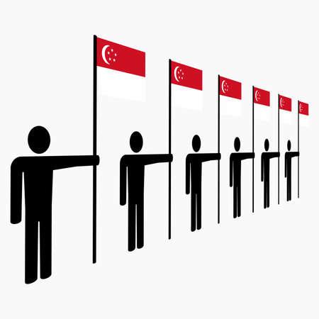 singaporean flag: line of men holding Singapore flags illustration