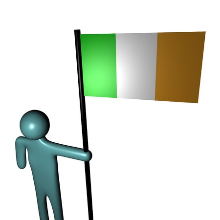 irish pride: abstract person holding pole with Irish Flag