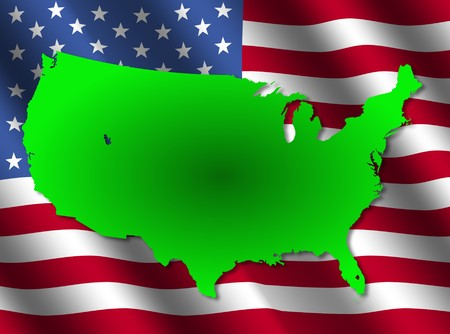 rippled: USA map on rippled flag illustration