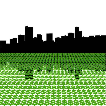 denver: Denver Skyline with dollar symbols illustration Stock Photo
