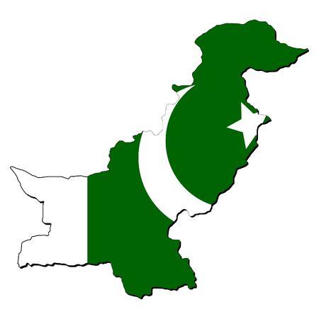 flag of pakistan: map of Pakistan with their flag illustration Stock Photo