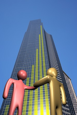 abstract people shaking hands and skyscraper with graph illustration illustration