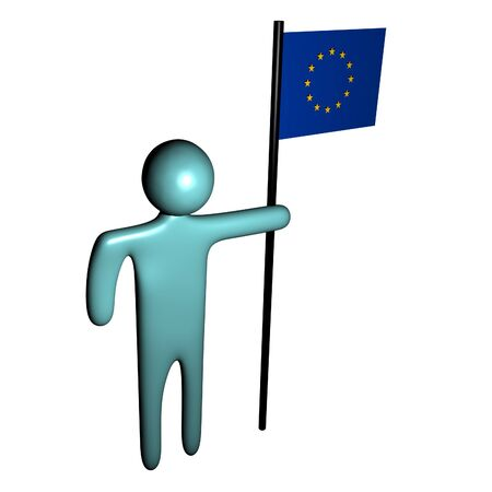 eu: abstract person holding pole with EU Flag