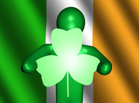 17th of march: abstract green person holding shamrock shaped sign on Irish flag