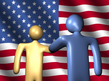 abstract people shaking hands with American flag illustration illustration