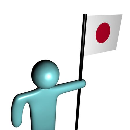 abstract person holding pole with Japanese Flag photo