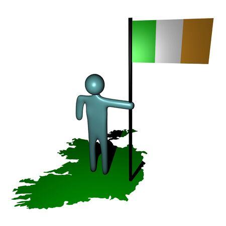 irish map: abstract person with Irish flag on map illustration Stock Photo