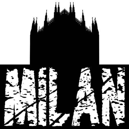 Duomo Milan with grunge text illustration illustration