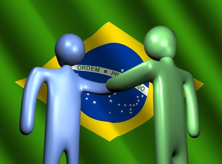 abstract people shaking hands with Brazilian flag illustration illustration