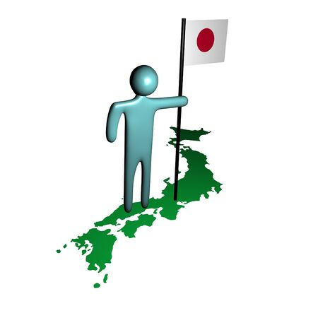 abstract person with Japanese flag on map illustration illustration