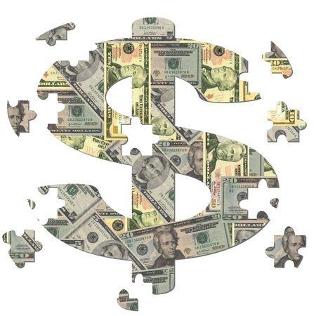 dollar symbol jigsaw with missing pieces illustration Stock Photo