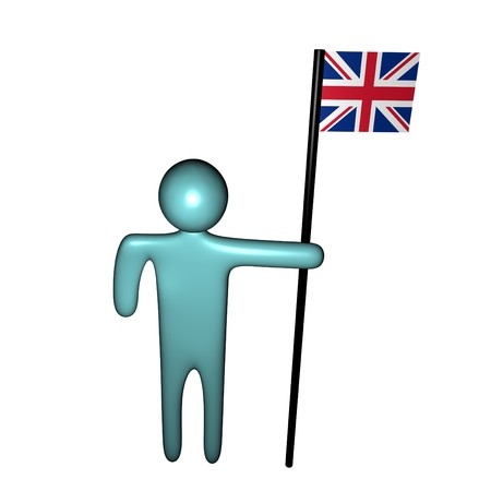 abstract person holding pole with British Flag Stock Photo - 4491244